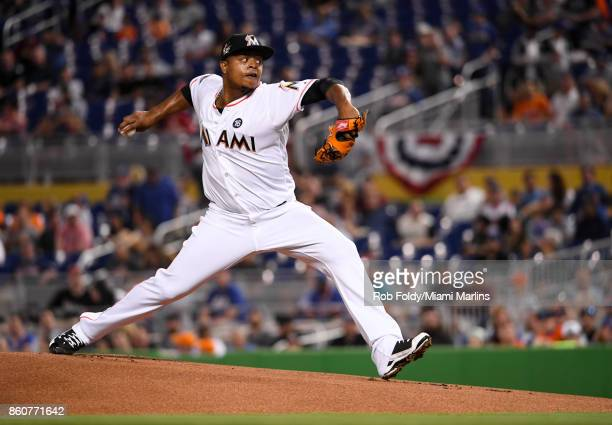 Edinson Volquez of the Miami Marlins throws the first pitch of the game against the New York Mets at Marlins Park on April 14 2017 in Miami Florida