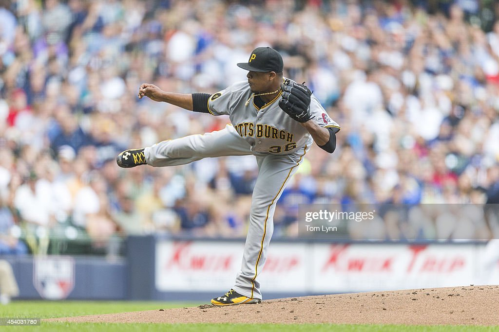<a gi-track='captionPersonalityLinkClicked' href=/galleries/search?phrase=Edinson+Volquez&family=editorial&specificpeople=3851791 ng-click='$event.stopPropagation()'>Edinson Volquez</a> #36 of the Pittsburg Pirates pitches to a Milwaukee Brewers batter at Miller Park on August 23, 2014 in Milwaukee, Wisconsin.