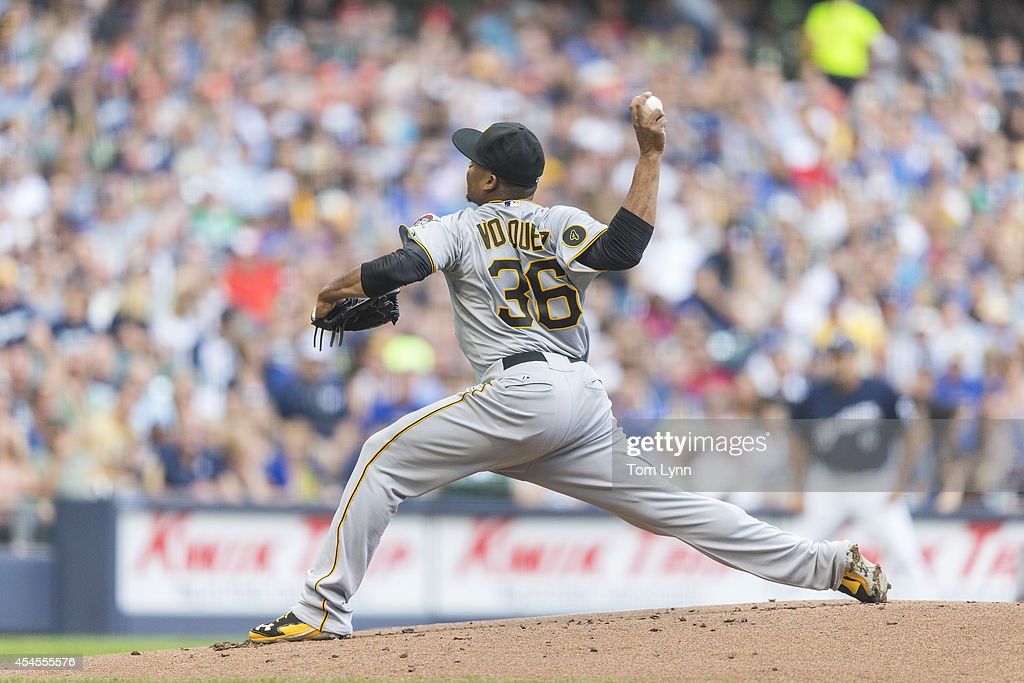 <a gi-track='captionPersonalityLinkClicked' href=/galleries/search?phrase=Edinson+Volquez&family=editorial&specificpeople=3851791 ng-click='$event.stopPropagation()'>Edinson Volquez</a> #36 of the Pittsburg Pirates to the Milwaukee Brewers at Miller Park on August 23, 2014 in Milwaukee, Wisconsin.