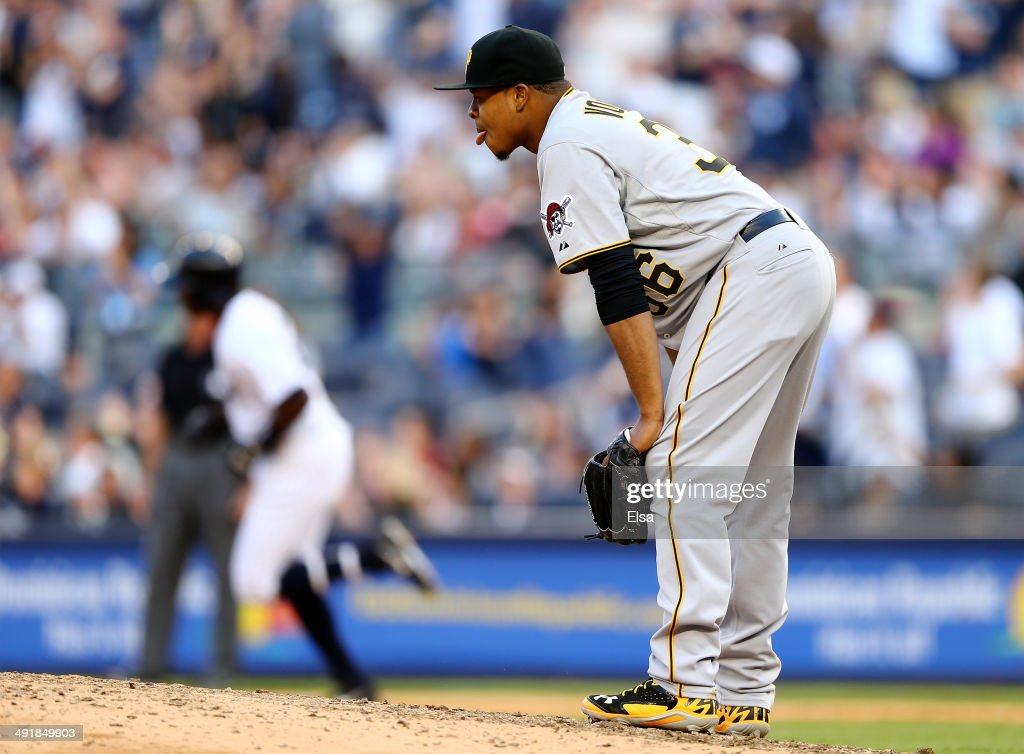 Edinson Volquez #36 of the Pittsburgh Pirates reacts after Alfonso Soriano #12 of the New York Yankees hit a solo home run in the seventh inning on May 17, 2014 at Yankee Stadium in the Bronx borough of New York City.