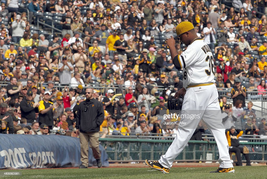 <a gi-track='captionPersonalityLinkClicked' href=/galleries/search?phrase=Edinson+Volquez&family=editorial&specificpeople=3851791 ng-click='$event.stopPropagation()'>Edinson Volquez</a> #36 of the Pittsburgh Pirates walks off the field in the sixth inning after giving up one run against the St. Louis Cardinals during the game at PNC Park April 6, 2014 in Pittsburgh, Pennsylvania. The Pirates defeated the Cardinals 2-1.