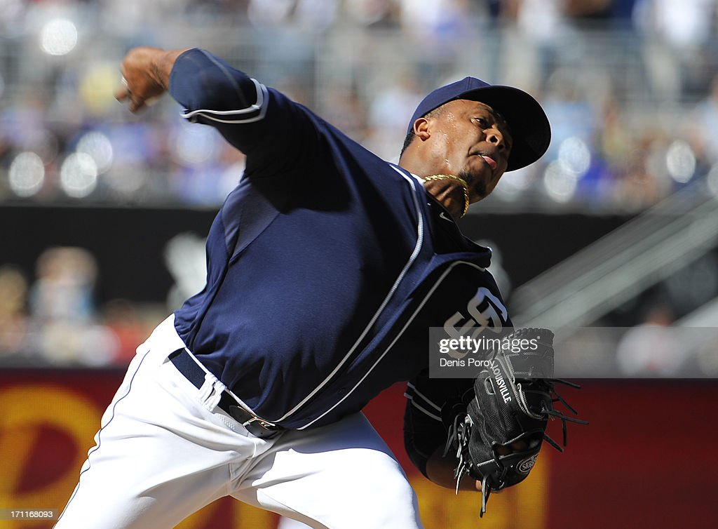 <a gi-track='captionPersonalityLinkClicked' href=/galleries/search?phrase=Edinson+Volquez&family=editorial&specificpeople=3851791 ng-click='$event.stopPropagation()'>Edinson Volquez</a> #37 of the San Diego Padre pitches during the second inning of a baseball game against the Los Angeles Dodgers at Petco Park on June 22, 2013 in San Diego, California.