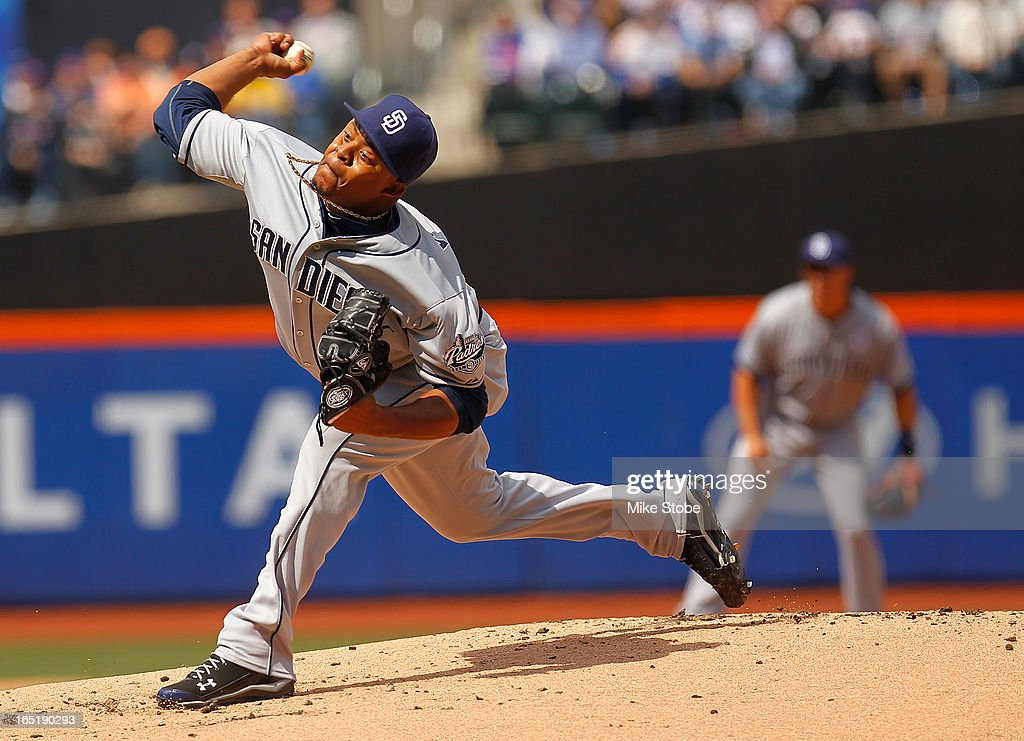 <a gi-track='captionPersonalityLinkClicked' href=/galleries/search?phrase=Edinson+Volquez&family=editorial&specificpeople=3851791 ng-click='$event.stopPropagation()'>Edinson Volquez</a> #37 of the San Diego Padres delivers a pitch in the first inning against the New York Mets on opening day at Citi Field on April 1, 2013 in the Flushing neighborhood of the Queens borough of New York City.