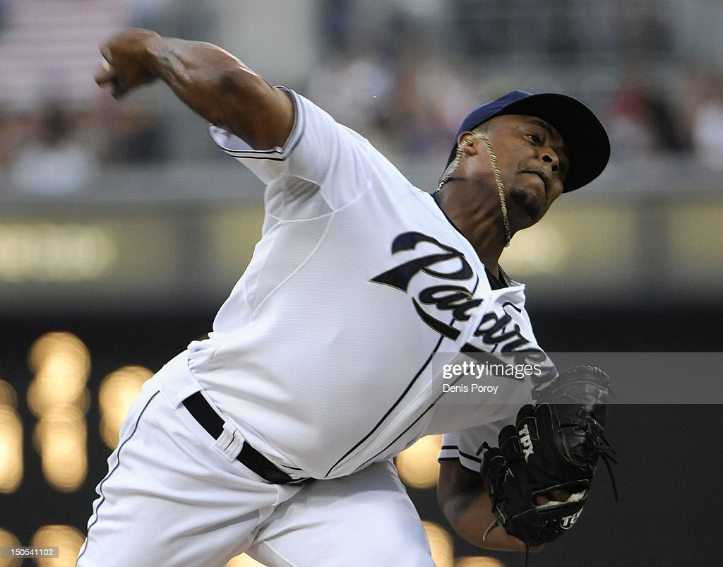 <a gi-track='captionPersonalityLinkClicked' href=/galleries/search?phrase=Edinson+Volquez&family=editorial&specificpeople=3851791 ng-click='$event.stopPropagation()'>Edinson Volquez</a> #37 of the San Diego Padres pitches during the first inning of a baseball game against the Pittsburgh Pirates at Petco Park on August 20, 2012 in San Diego, California.