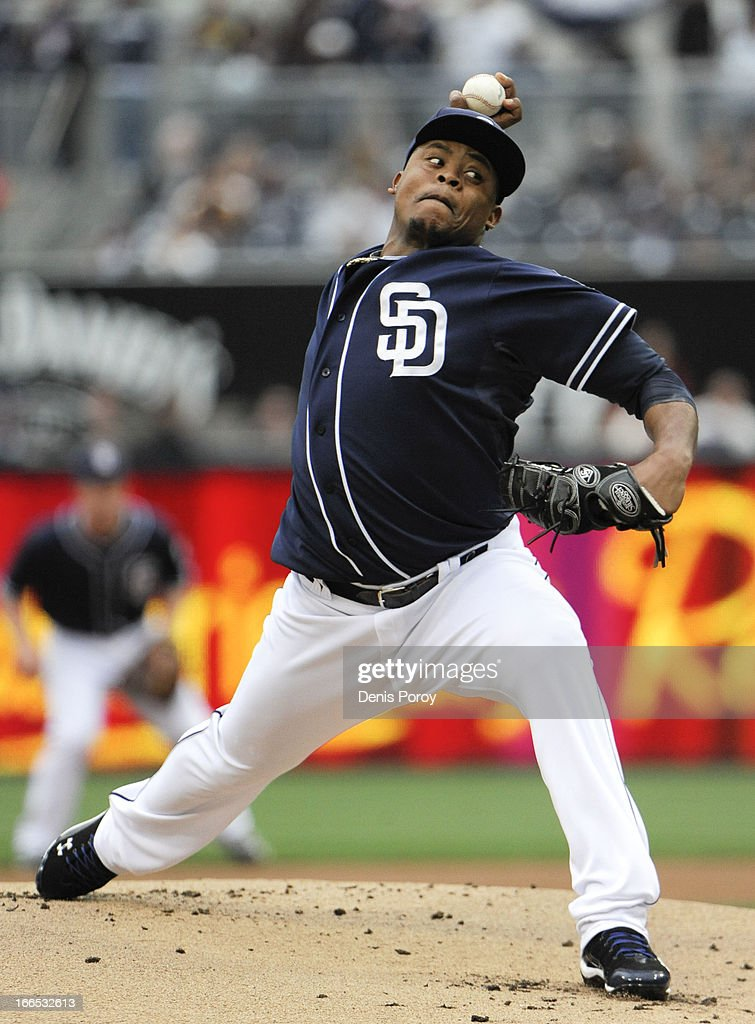 <a gi-track='captionPersonalityLinkClicked' href=/galleries/search?phrase=Edinson+Volquez&family=editorial&specificpeople=3851791 ng-click='$event.stopPropagation()'>Edinson Volquez</a> #37 of the San Diego Padres pitches during the first inning of a baseball game against the Colorado Rockies at Petco Park on April 13, 2013 in San Diego, California.