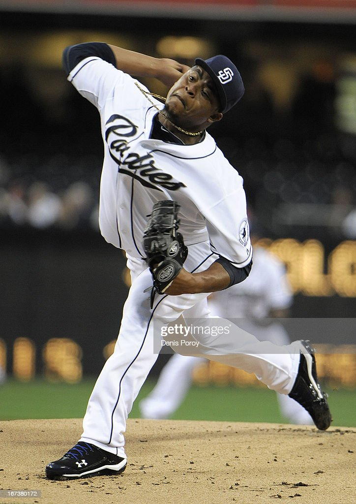 Edinson Volquez #37 of the San Diego Padres pitches during the first inning of a baseball game against the Milwaukee Brewers at Petco Park on April 24, 2013 in San Diego, California.