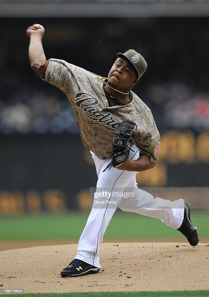 <a gi-track='captionPersonalityLinkClicked' href=/galleries/search?phrase=Edinson+Volquez&family=editorial&specificpeople=3851791 ng-click='$event.stopPropagation()'>Edinson Volquez</a> #37 of the San Diego Padres pitches during the first inning of a baseball game against the Arizona Diamondbacks at Petco Park on May 5, 2013 in San Diego, California.