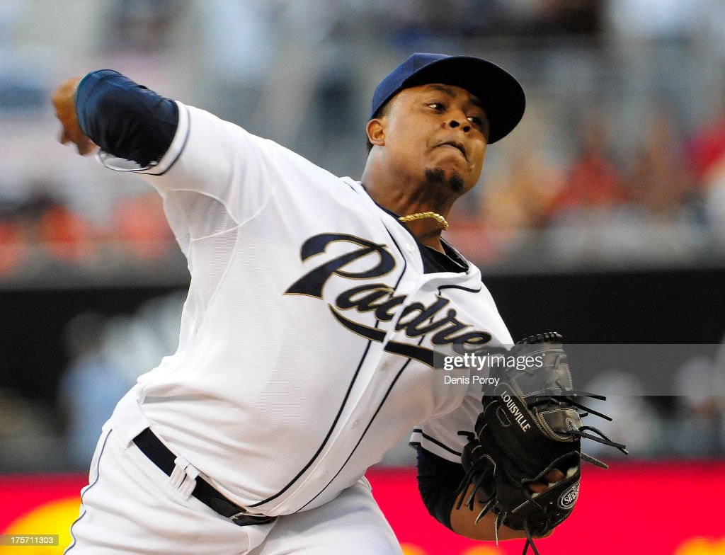 <a gi-track='captionPersonalityLinkClicked' href=/galleries/search?phrase=Edinson+Volquez&family=editorial&specificpeople=3851791 ng-click='$event.stopPropagation()'>Edinson Volquez</a> #37 of the San Diego Padres pitches during the first inning of a baseball game against the Baltimore Orioles at Petco Park on August 6, 2013 in San Diego, California.