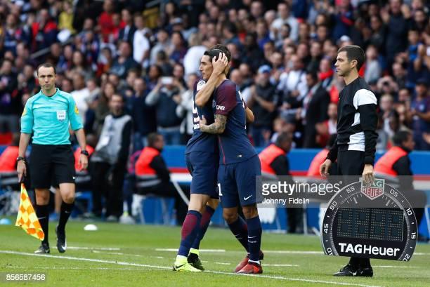 Edison Cavani and Angel di Maria of Paris Saint Germain during the Ligue 1 match between Paris Saint Germain and FC Girondins de Bordeaux at Parc des...