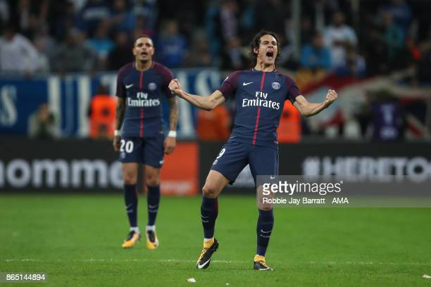 Edison Cavani of Paris SaintGermain celebrates after scoring a goal to make it 22 during the Ligue 1 match between Olympique Marseille and Paris...