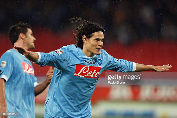 Edison Cavani of SSC Napoli celebrates after scoring the fourth goal during the Serie A match between SSC Napoli and Bologna FC at Stadio San Paolo...
