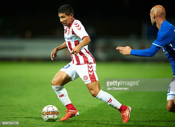 Edison Flores of AaB Aalborg controls the ball during the Danish Alka Superliga match between Lyngby BK and AaB Aalborg at Lyngby Stadion on...