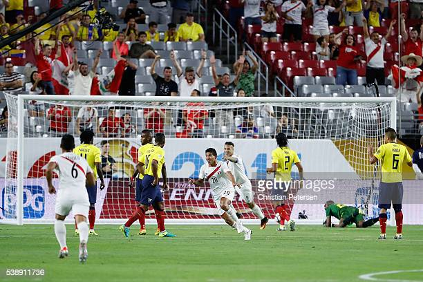 Edison Flores of Peru celebrates after scoring a goal against the Ecuador during the first half of the 2016 Copa America Centenario Group B match at...