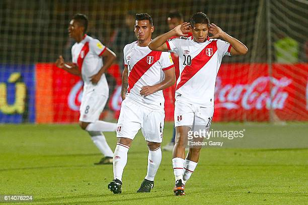 Edison Flores of Peru celebrates after scoring the first goal of his team during a match between Chile and Peru as a part of FIFA 2018 World Cup...
