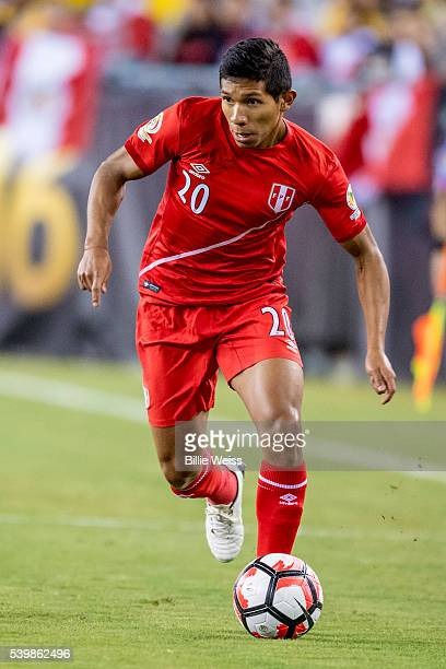 Edison Flores of Peru controls the ball during a group B match between Brazil and Peru at Gillette Stadium as part of Copa America Centenario US 2016...
