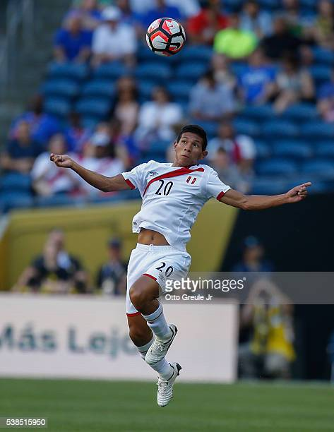 Edison Flores of Peru heads the ball against Haiti during the 2016 Copa America Centenario Group B match at CenturyLink Field on June 4 2016 in...