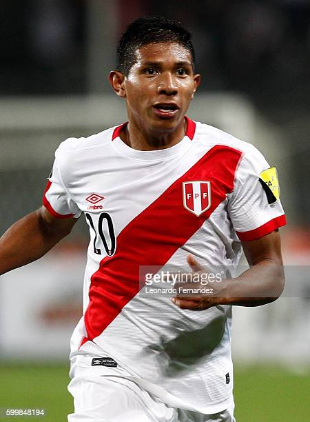 Edison Flores of Peru in action during a match between Peru and Ecuador as part of FIFA 2018 World Cup Qualifiers at Nacional Stadium on September 06...