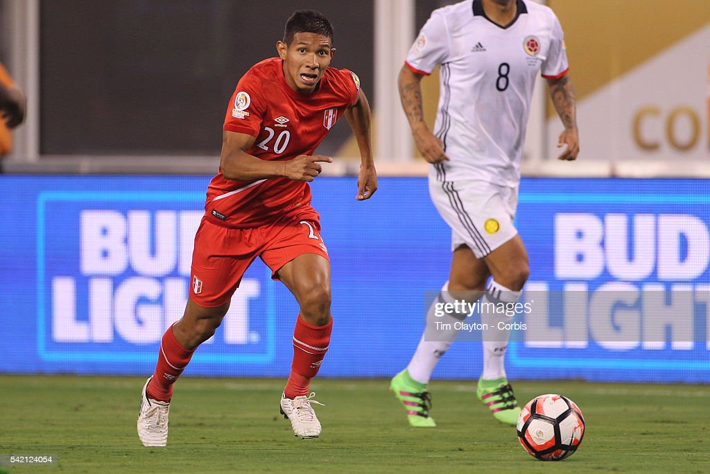 <a gi-track='captionPersonalityLinkClicked' href=/galleries/search?phrase=Edison+Flores&family=editorial&specificpeople=8597891 ng-click='$event.stopPropagation()'>Edison Flores</a> #20 of Peru in action during the Colombia Vs Peru Quarterfinal match of the Copa America Centenario USA 2016 Tournament at MetLife Stadium on June 17, 2016 in East Rutherford, New Jersey.