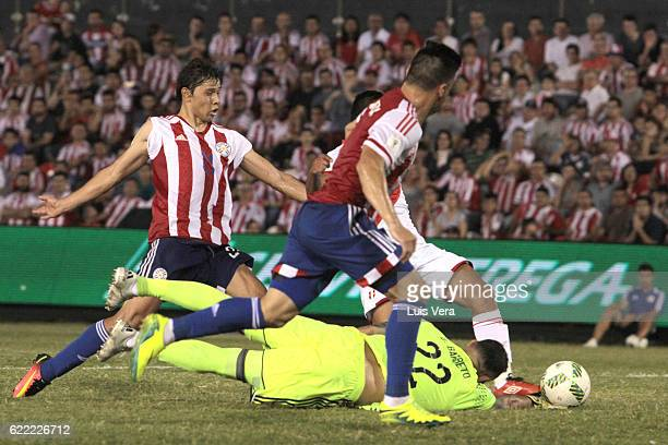 Edison Flores of Peru scores the second goal of his team during a match between Paraguay and Peru as part of FIFA 2018 World Cup Qualifiers at...