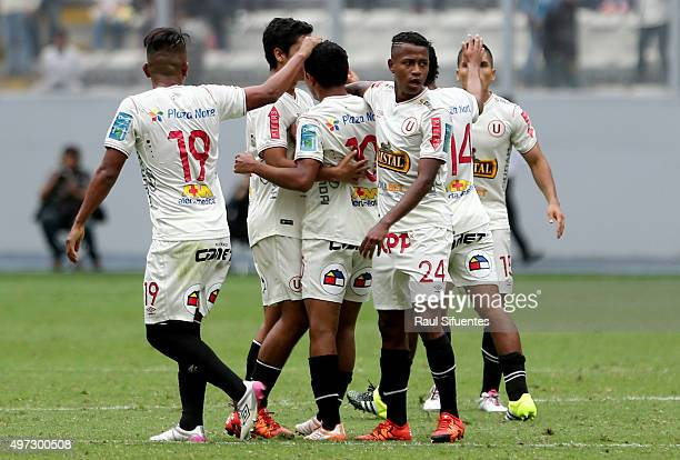 Edison Flores of Universitario celebrates the first goal of his team against Alianza Lima during a match between Universitario and Alianza Lima as...