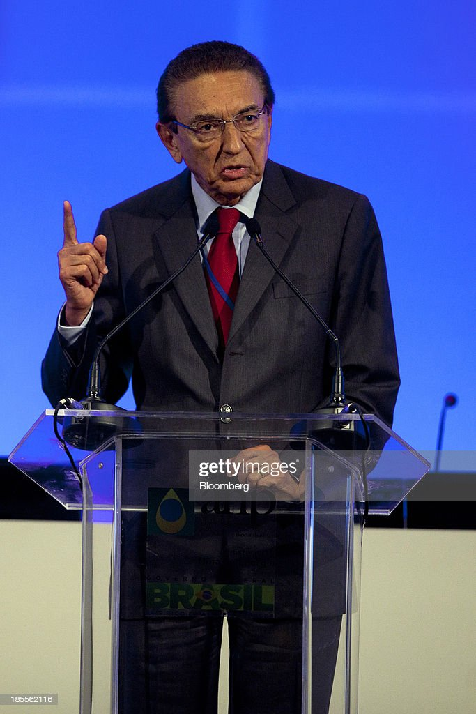 Edison Lobao, Brazil's minister of energy and mines, speaks before an auction for the right to develop Brazil's Libra oilfield in Rio de Janeiro, Brazil, on Monday, Oct. 21, 2013. A group led by Petroleo Brasileiro SA won a license to develop Brazils biggest oil discovery under more favorable terms than analysts estimated. Shares in Petrobras, as the state-run producer is known, surged. Photographer: Dado Galdieri/Bloomberg via Getty Images