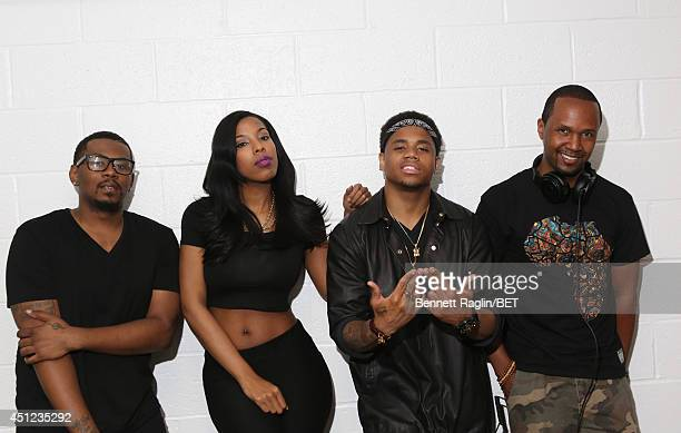Edison Sainsbury Tiffany Stevenson Mack Wilds and DJ Reg West visit 106 Park at BET studio on June 25 2014 in New York City