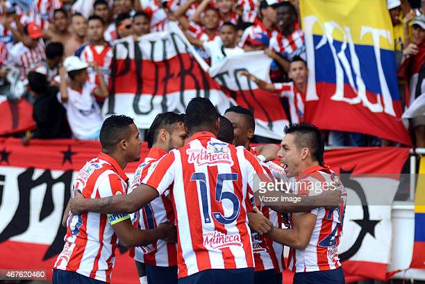 Edison Toloza of Atletico Junior celebrates with teammates his goal against Patriotas during the match for the first round of the Liga Aguila I 2015...