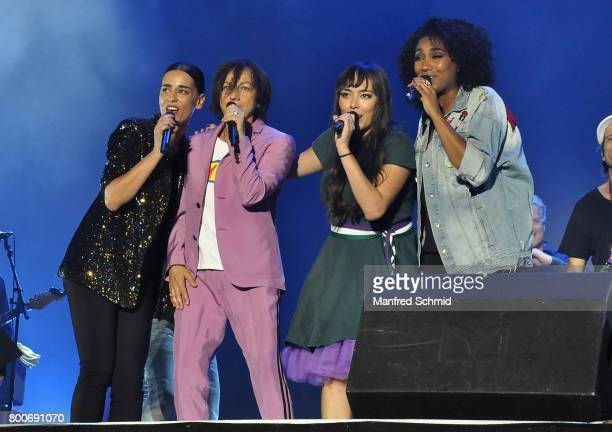 Edita Malovcic Gianna Nannini Yasmo and Ana Milva Gomes perform on stage a 'Falco Tribute' during the Day 2 at Donauinselfest 2017 at Donauinsel on...