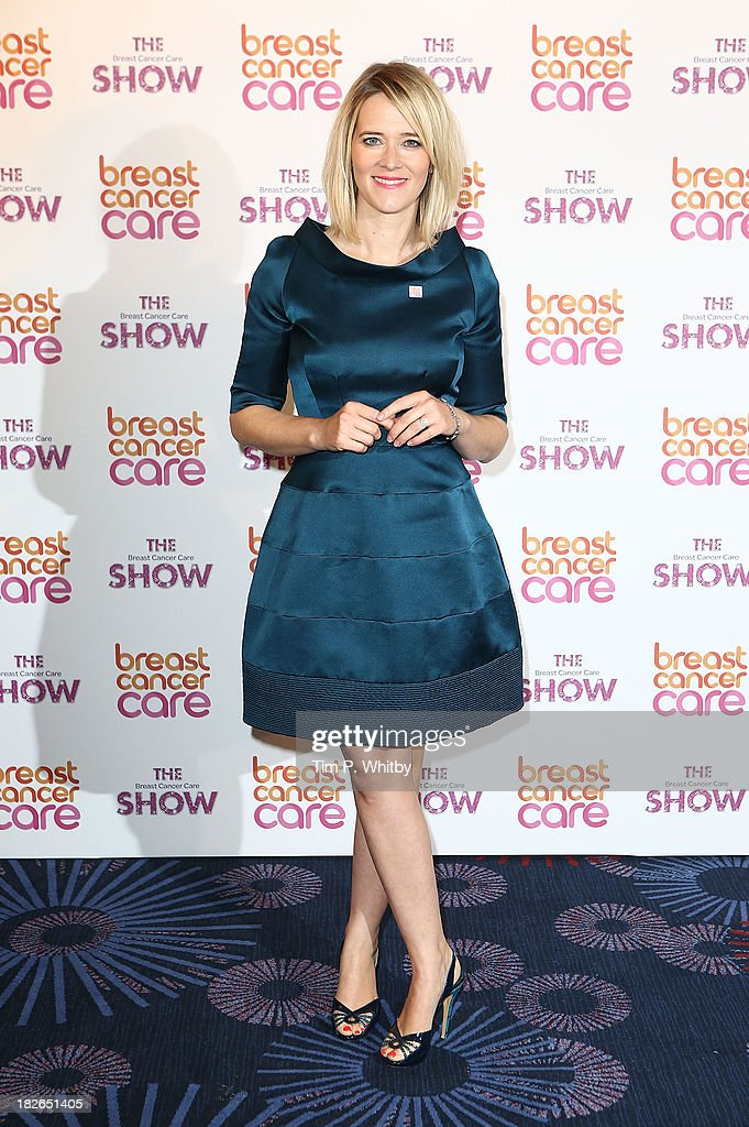 Edith Bowman arriving at the afternoon performance of the Breast Cancer Care Fashion Show at Grosvenor House, on October 2, 2013 in London, England.
