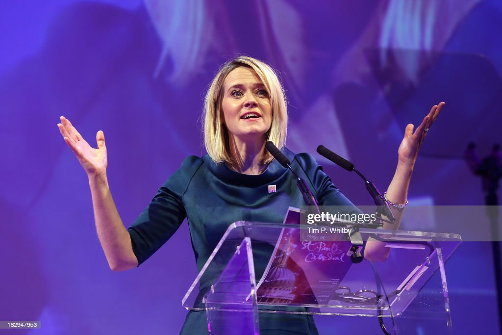 Edith Bowman presenting the afternoon performance of the Breast Cancer Care Fashion Show at Grosvenor House, on October 2, 2013 in London, England.