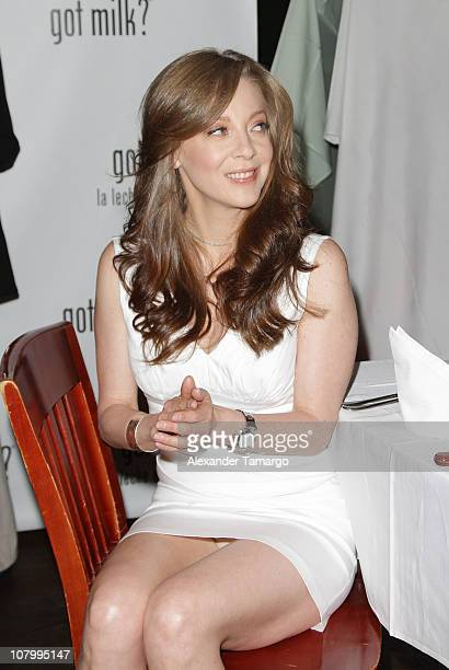 Edith Gonzalez attends a press conference to unveil her new ad for the 'Got Milk' campaign on January 11 2011 in Miami Florida