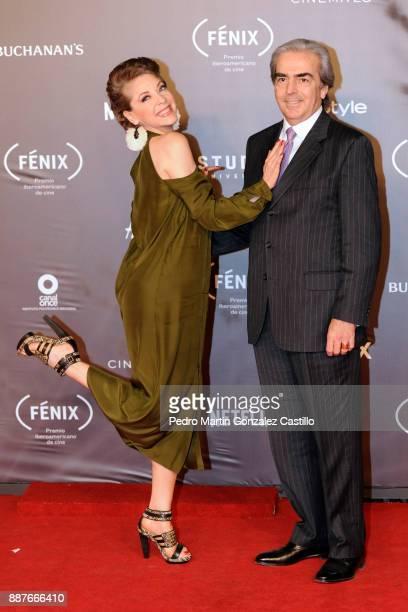 Edith Gonzalez poses with her husband during Fenix Iberoamerican Film Awards 2017 at Teatro de La Ciudad on December 06 2017 in Mexico City Mexico