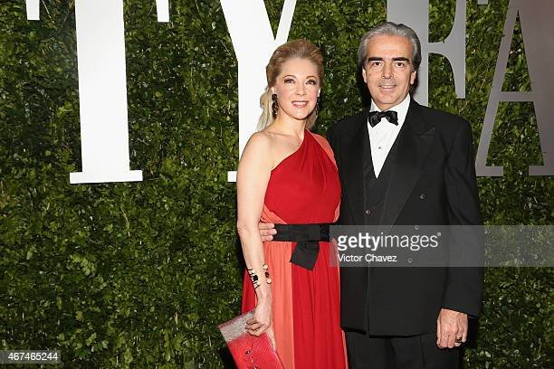 Edith González and Lorenzo Lazo attend the Vanity Fair México magazine launch at Casa Del Lago on March 24 2015 in Mexico City Mexico