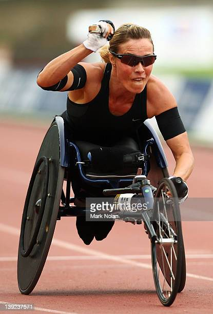 Edith Hunkeler of Switzerland celebrates winning the womens 400 metres wheelchair race during the Sydney track Classic at Sydney Olympic Park...