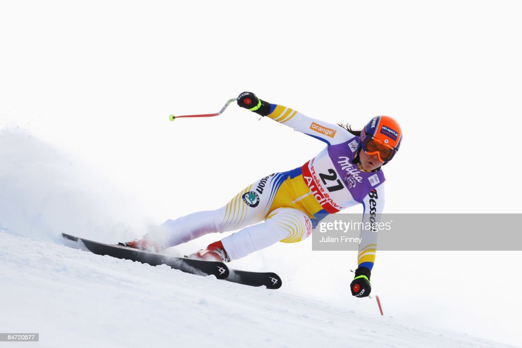 Edith Miklos of Romania skis during the Women's Downhill event held on the Face de Solaise course on February 9, 2009 in Val d'Isere, France.