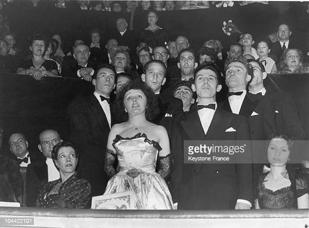 Edith Piaf And Les Compagnons De La Chanson Singing From Their Box At The Union Des Artistes Gala At The Cirque D'Hiver On April 11 1948