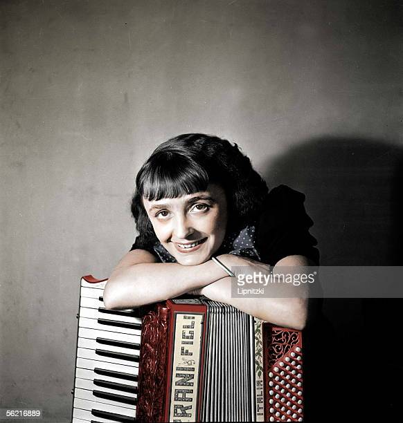 Edith Piaf French singer in 1936 Colourized photo