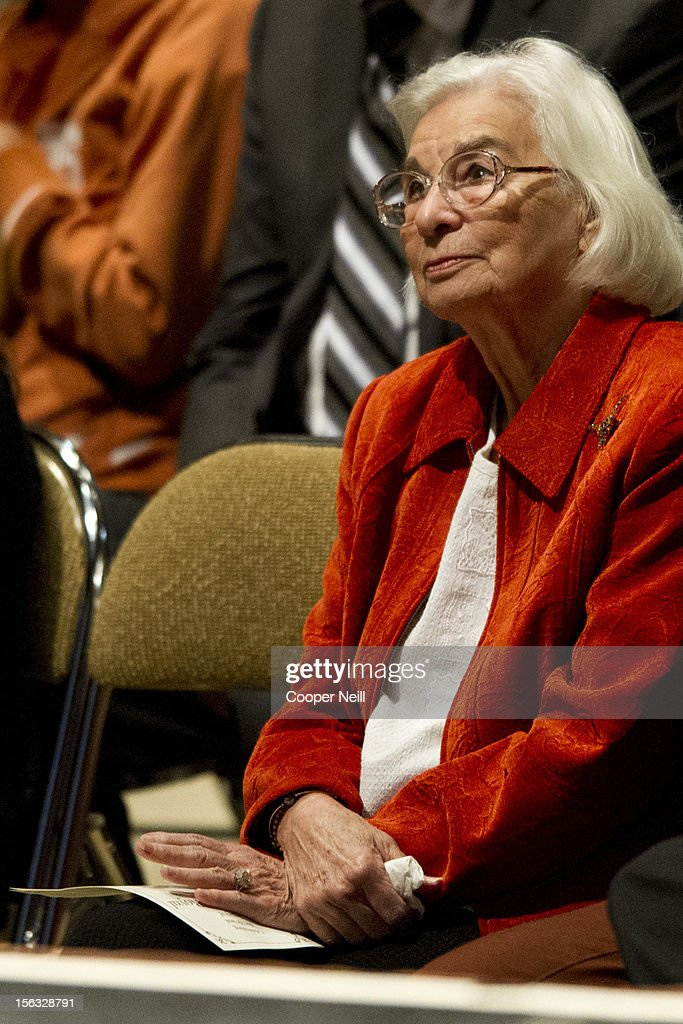 Edith Royal attends a memorial service in honor of her late husband and former University of Texas Longhorns head coach Darrell K Royal on November 13, 2012 at the Frank Erwin Center in Austin, Texas.