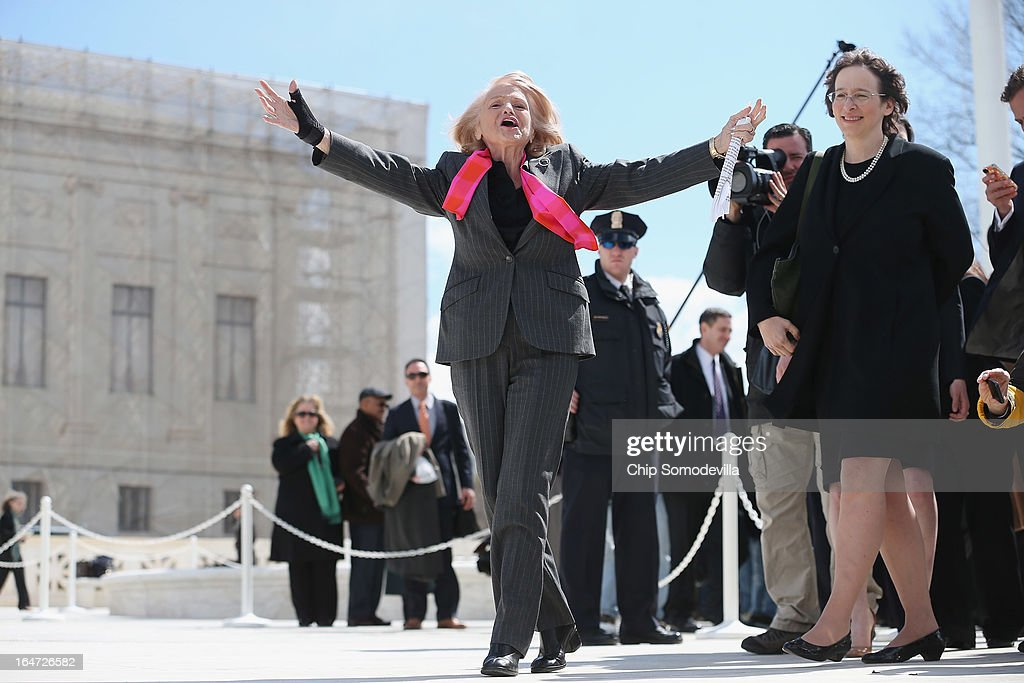 Edith Windsor, 83, acknowledges her supporters as she leaves the Supreme Court March 27, 2013 in Washington, DC. The Supreme Court heard oral arguments in the case 'Edith Schlain Windsor, in Her Capacity as Executor of the Estate of Thea Clara Spyer, Petitioner v. United States,' which challenges the constitutionality of the Defense of Marriage Act (DOMA), the second case about same-sex marriage this week.