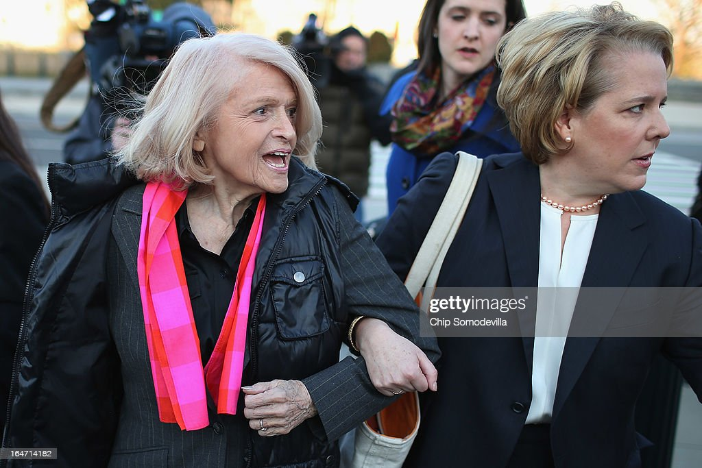 Edith Windsor (L), 83, and her lawyer Roberta Kaplan arrive at the Supreme Court on March 27, 2013 in Washington, DC. The Supreme Court will hear oral arguments in the case 'Edith Schlain Windsor, in Her Capacity as Executor of the Estate of Thea Clara Spyer, Petitioner v. United States,' the second case about same-sex marriage this week.