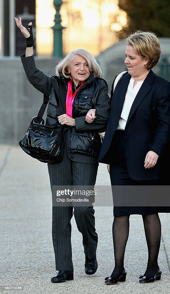 Edith Windsor (L), 83, waves as she and her lawyer Roberta Kaplan arrive at the Supreme Court March 27, 2013 in Washington, DC. The Supreme Court will hear oral arguments in the case 'Edith Schlain Windsor, in Her Capacity as Executor of the Estate of Thea Clara Spyer, Petitioner v. United States,' the second case about same-sex marriage this week.