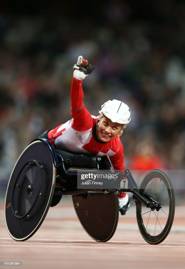 Edith Wolf of Switzerland celebrates as she wins silver in the Women's 800m T54 Final on day 7 of the London 2012 Paralympic Games at Olympic Stadium on September 5, 2012 in London, England.