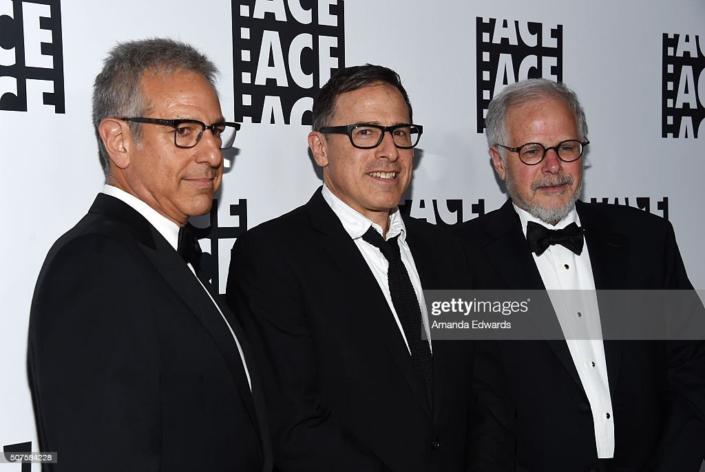 Editor Alan Baumgarten director David O Russell and editor Jay Cassidy arrive at the 66th Annual ACE Eddie Awards at The Beverly Hilton Hotel on...