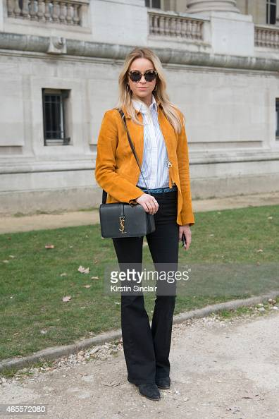 Editor and chief of Costume magazine Hege Aurelie Badendyck wears a Yves Saint Laurent bag Frame Denim jeans Acne jacket and shoes Fall Winter Spring...