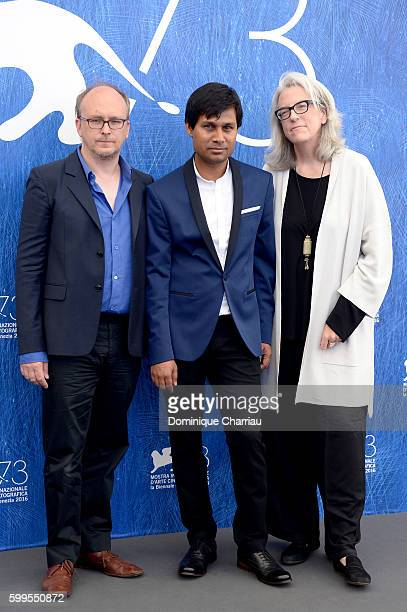 Editor and cowriter David Barker director Deepak Rauniyar and producer Joslyn Barnes attend a photocall for 'White Sun' during the 73rd Venice Film...
