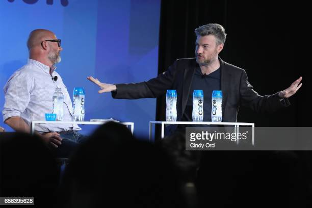 Editor Andrew Sullivan and Show Creator Charlie Booker speak onstage at the Black Mirror panel during the 2017 Vulture Festival at Milk Studios on...
