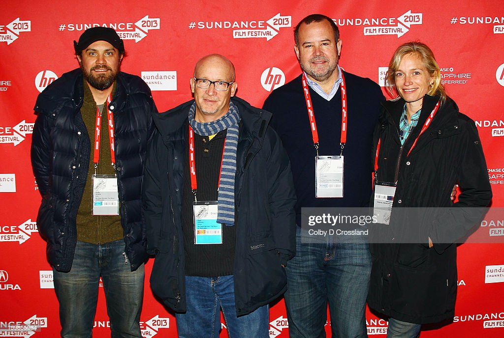 Editor Andy Grieve, filmmaker Alex Gibney, and producers Marc Shmuger and Alexis Bloom attend the 'We Steal Secrets: The Story Of Wikileaks' premiere at The Marc Theatre during the 2013 Sundance Film Festival on January 21, 2013 in Park City, Utah.