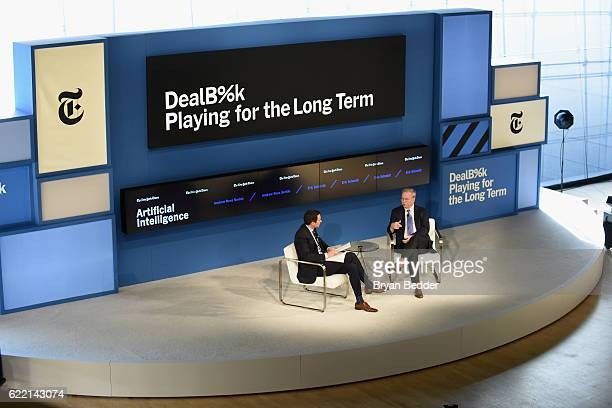 Editor at Large and Columnist for The New York Times Andrew Ross Sorkin and Executive Chairman of Alphabet Inc Eric Schmidt speak onstage at The New...