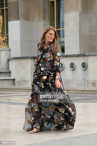 Editor At Large and creative consultant for Vogue Japan Anna dello Russo wears a Chloe dress and Valentino shoes on day 3 of Paris Fashion Week Haute...