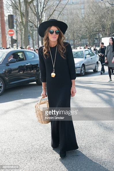 Editor at large for Vogue Japan Anna Dello Russo wears all Celine and an Yves Saint Laurent bag on day 6 of Paris Collections Women on March 08 2015...